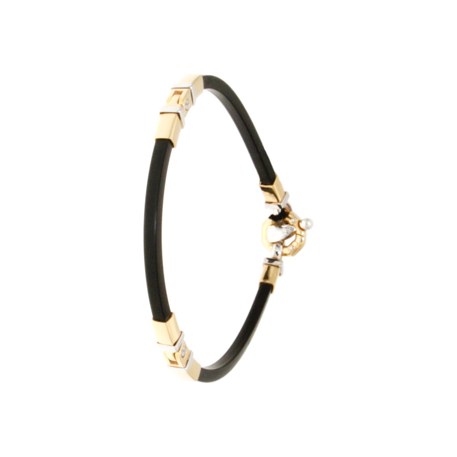 e115d7a807581 Bracelet unisex (man and woman), BARAKA - Yellow and White Gold, Black  Rubber - closing with Diamond.