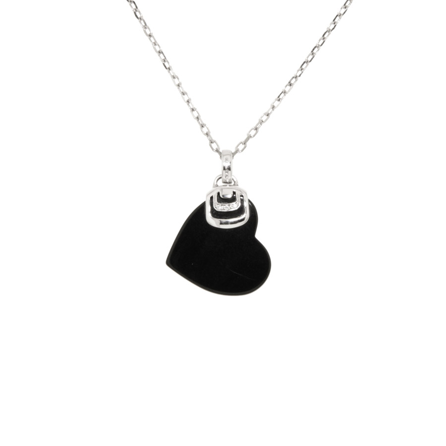 Necklace DAMIANI jewelry , Damianissima, Silver 925/000 (Sterling Silver) - Heart, Black Onyx.