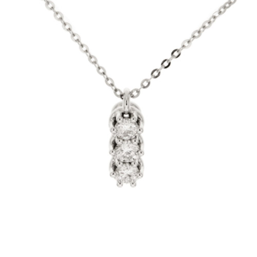 Damiani necklace minou trilogy gold 18 kt trilogy necklace woman damiani jewelry minou white gold 18 kt with diamonds ct 030 audiocablefo
