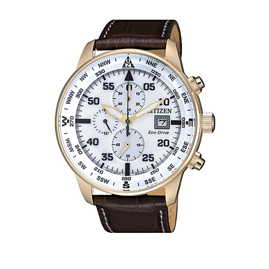 Man Watch Citizen Of Aviator Chrono Leather 069