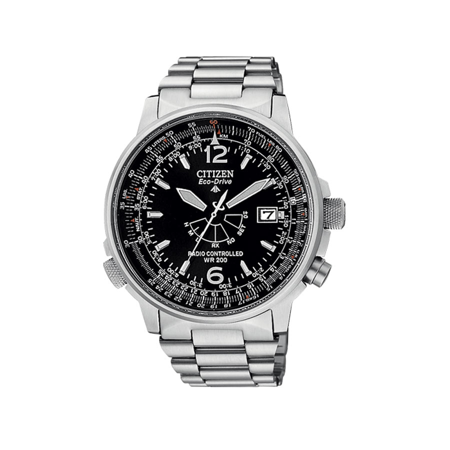 60afa97d3 Citizen men watch, only time Pilot, Radio-controlled steel - Silver dial, stainless  steel strap.