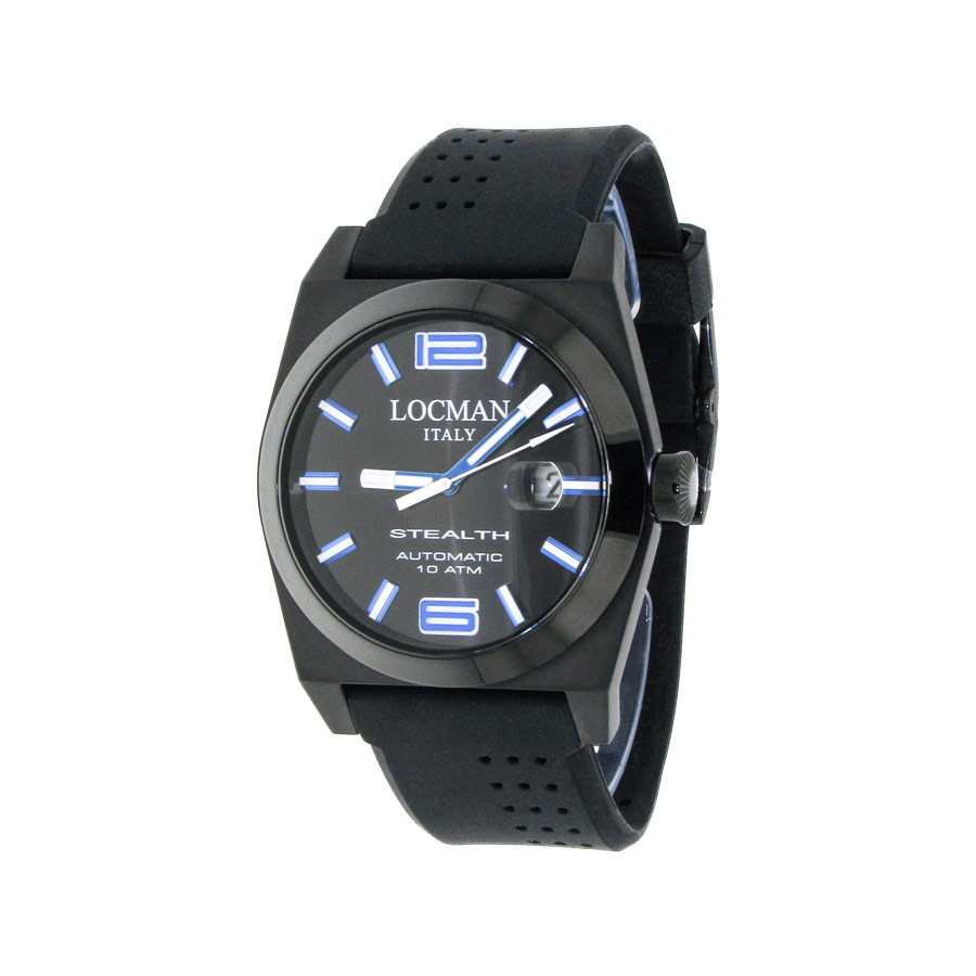 watches locman stealth automatic man only time watches locman watches men stealth automatic white rubber strap blue