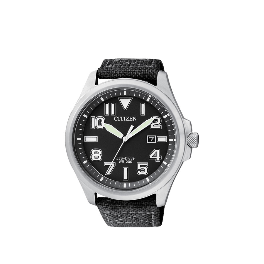 Watch Man Citizen Of Collection Military Case Steel Black Canvas Strap Black Dial