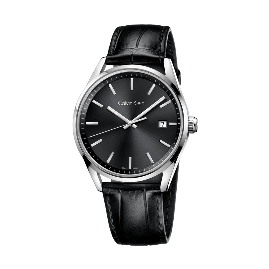 Watch man, CK (Calvin Klein), Formality collection, only Time with Date - Steel case, Black Leather strap - Grey dial.