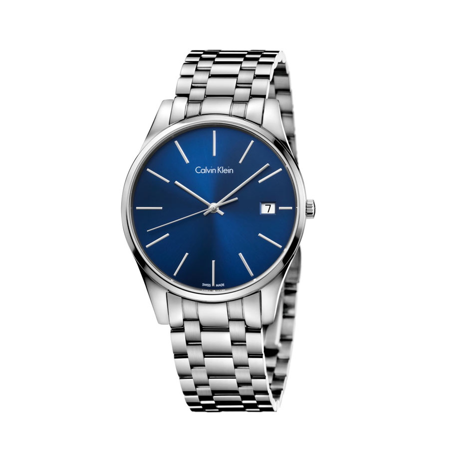 Watch man, CK (Calvin Klein), Time collection, only Time - mm.40 - Quartz - Steel case and strap - Blue dial.