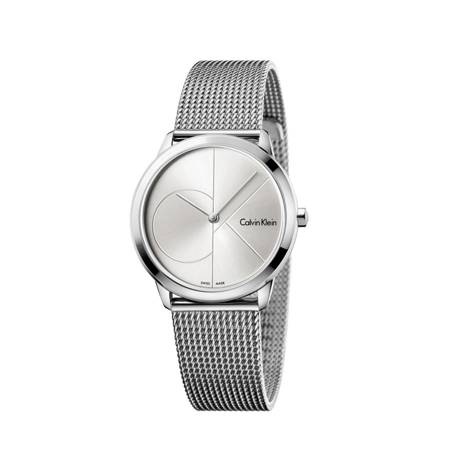 Watch unisex, Ck (Calvin Klein), Minimal logo collection - mm 35 - Steel  case and Canvas strap - Silver dial (CK)
