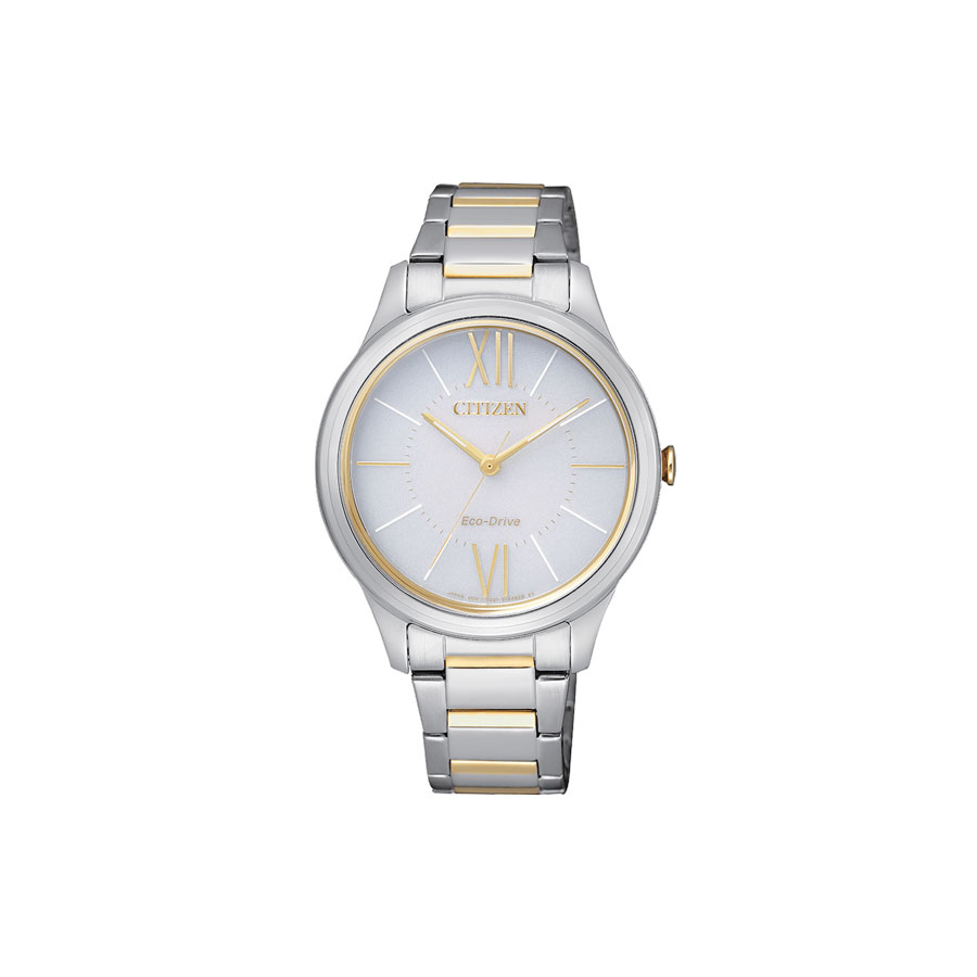 Watch woman, CITIZEN OF Collection, Lady 0410 - Case and bracelet, Steel bicolor - Silver dial.