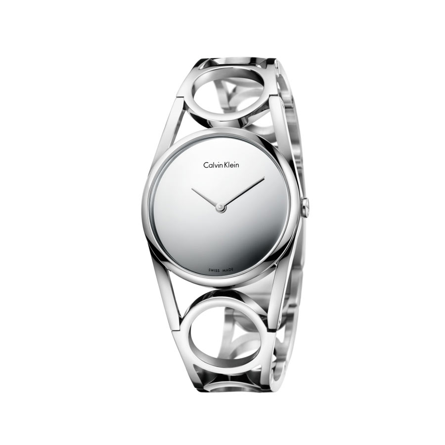 Watch woman, CK (Calvin Klein), collection Round - Steel case and bracelet - size M - Mirror dial.