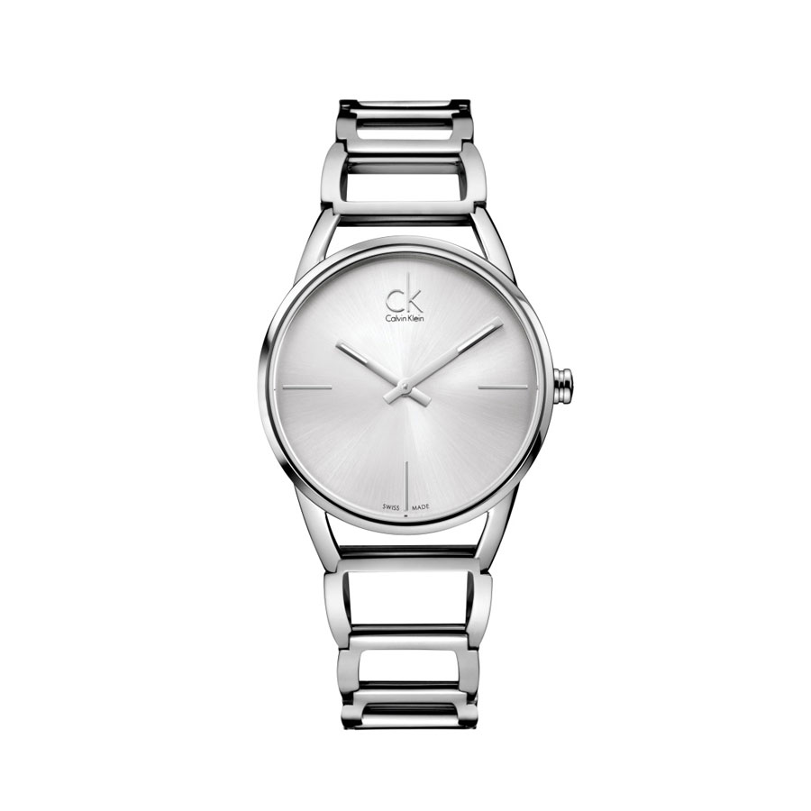 a598eb1095 Watch woman, CK (Calvin Klein), Stately collection - Steel case and strap -  Silver dial.