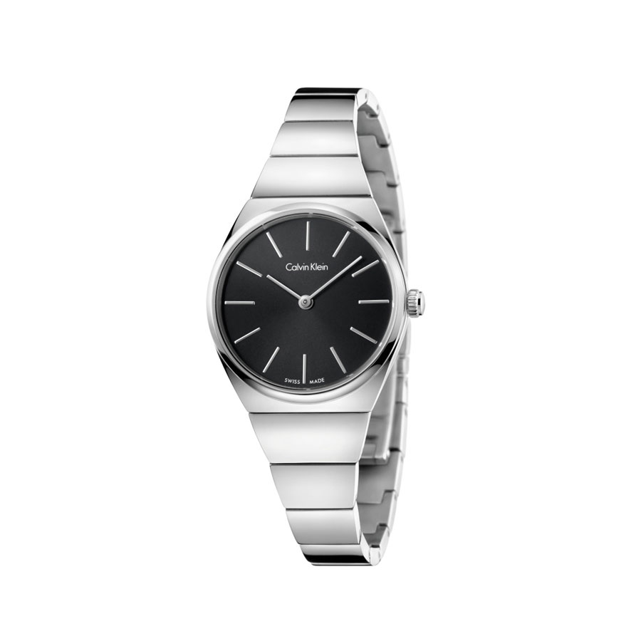 Watch woman, Ck (Calvin Klein), Supreme collection - mm.28 - Steel case and strap - Black dial.