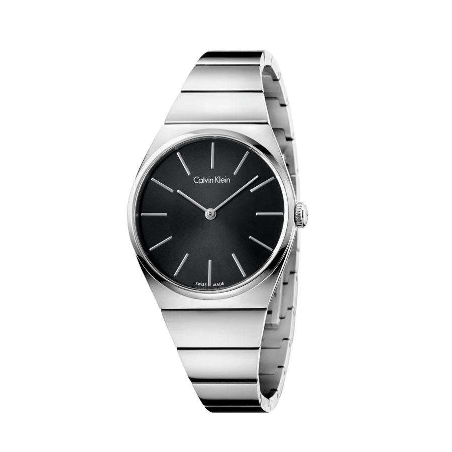 Watch woman, Ck (Calvin Klein), Supreme collection - mm.33 - Steel case and strap - Black dial.